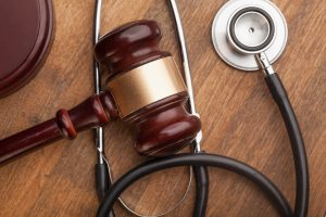 Stethoscope and judgement hammer for an injury lawyer hampton