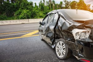 Image of a damaged car after an accident, representing how a Newport News car accident attorney can represent you.